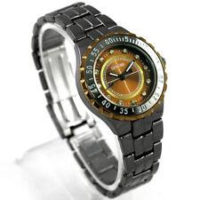 Marque Noir Acier Noble Bling Diamonds Femmes Lady Quartz Luxe Montre-bracelet