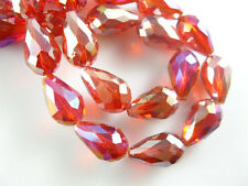 15pcs Red AB Glass Crystal Faceted Teardrop Beads 10x15mm Spacer Findings