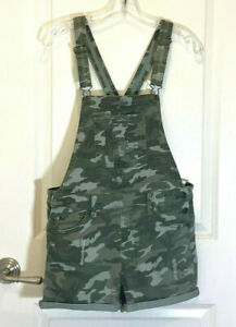 Justice Girls Camo Denim Overalls Shortalls Shorts Size 18 Brand NEW NWT