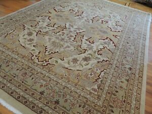 9x12 Egyptian Oriental Area rug wool Green Gold/Yellow Rust Pink/Mauve