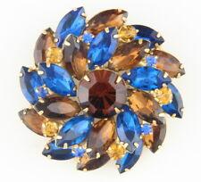 Juliana Capri Blue & Topaz Rhinestone Brooch - Gold Tone - Stunning!