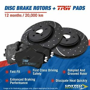 Front Slotted Dimpled Brake Rotors TRW Pads For Mercedes Benz Sprinter