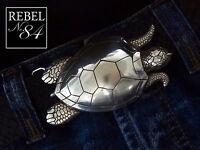 Gürtelschnalle Buckle Schildkröte Turtle Tiere Animal silber 4cm
