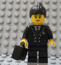 LEGO Minifig Female AIRLINE PILOT Black Hair, Black Uniform, Red Tie, Airport