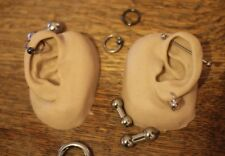 Pair of slicone human ears - piercing - tattoo - display -  acupuncture