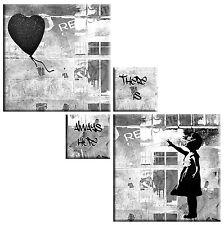 Banksy Ragazza con Palloncino Cuore Nero Sparkle Grigio FOTO SU TELA PANNELLO QUADRATO 4