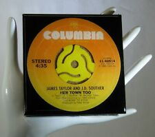 New listing James Taylor J.D. Souther - Music Drink Coaster Made with Original 45 rpm Record