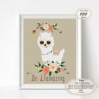Be Llamazing Baby Llama Nursery art Embroidery Cross stitch PDF Pattern #149