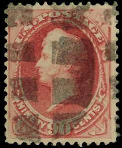 1873 US Scott# 166 - 90 Cent  Continental Bank Note - Rose Carmine - Used - F/VF