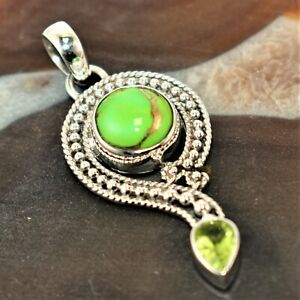 Copper Green turquoise & Peridot Gemstone 925 Sterling Silver Pendant 2""
