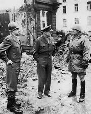 GEORGE PATTON, DWIGHT EISENHOWER & OMAR BRADLEY 8x10 Photo World War II Print