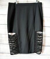 Bardot Pencil Skirt Size 14 Black Slit Side