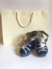 Versace Women's Sandals Wedge Shoes Platform High Beach Blue Silver Sz 39 US 9