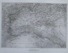 1913 ÜBERSICHTSKARTE NORD ITALIEN Italy alte Landkarte antique Map Lithographie