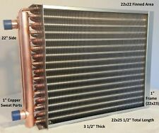 """22X22 Water to Air Heat Exchanger~~1"""" Copper Ports w/ EZ Install Front Flange"""