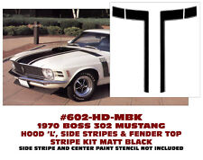 602-HD-MBK 1970 FORD MUSTANG BOSS 302 - HOOD and TOP FENDER STRIPES