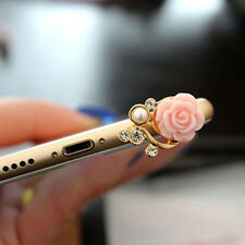 1X Universal Pink Rose 3.5mm Headphone Jack Dust Plug For Samsung iPhone Xiaomi