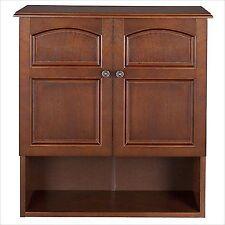 ELG501 Elegant Home Fashions Doors Wall Cabinet Bathroom Medicine Storage  Toiletry Mount Mahogany Organizer 674278005014