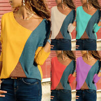 Plus Size Womens Patchwork Long Sleeve T-Shirt Casual Cotton Loose Blouse Tops