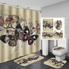 Colorful Butterfly Bath Mat Toilet Cover Rugs Shower Curtain Bathroom Decor