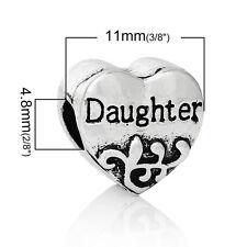"""""""Daughter Heart"""" Charm for Snake Chain Charm Bracelets"""