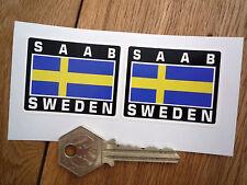 SAAB SWEDEN Flag Style Stickers 50mm Pair Swedish Turbo Ericsson Viggen 900 99