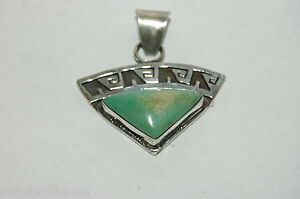 VIntage Navajo tiangle Turquoise pendant Sterling Silver Signed