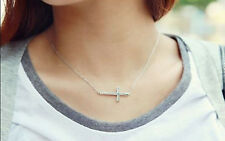 HOT Lady Charm Horizontal Sideways Cross 14 k W/Gold Plated Pendant Necklace New