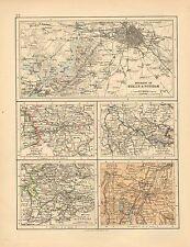 1892 VICTORIAN MAP ~ ENVIRONS OF BERLIN & POTSDAM GERMANY ~ MUNICH DRESDEN