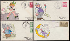 4 DIFFERENT FDCs HAND PAINTED BY GLADYS ADLER BL2957