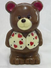 Hand-made Belgain Chocolate Teddy Bear with red hearts decoration detail