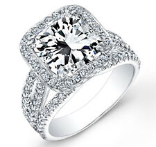 2.80 Ct. Halo Radiant Cut Pave Diamond 14K White Gold Engagement Ring EGL G,SI1