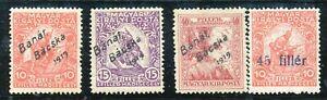 ROMANIA HUNGARY -1919 SC # 10NB1-4 BANAT BACSKA  OVPT,-MLH ( 3