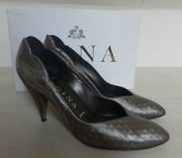 Gina Luxury Designer Bronze All Leather Court Shoes size 6.5