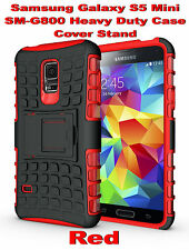 Red Samsung Galaxy S5 Mini G800 Strong Heavy Duty Tradesman Case Cover Stand