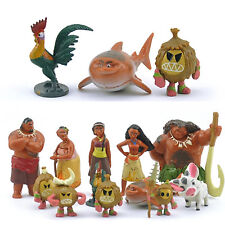 12Pcs Movie Moana Mini Figures PVC Figurines Toys Kids Doll Cake Topper Decor