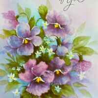 Vintage Mid Century Greeting Card Glitter Flowers Floral Pansies Lavender Purple