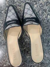 Ralph Lauren Doreen Size 8b Signature Leather Kitten Slide Mules Shoes Black