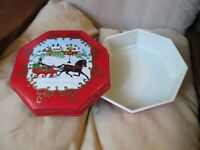 Vintage Christmas Box Plastic Cookie Tin Container Ullman 9 Octagon Horse Sleigh