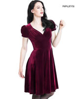 Hell Bunny 40s 50s Elegant Pin Up Dress JOANNE Crushed Velvet Burgundy All Sizes