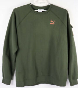 Puma Mens Cargo Pullover Sweatshirt Green With Orange Size XL MSRP 45