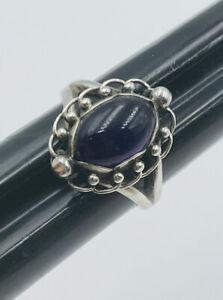 Georg Jensen Denmark Vintage Sterling Silver Amethyst Ring No. 21 Size 7