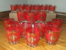 OUTSTANDING 23PC STARLYTE RED GOLD SPANISH DECO DESIGN GLASS SET BARWARE MADMEN
