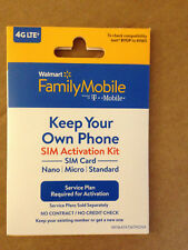 WalMart Family Mobile Bring Your Own Phone Sim Activation Kit (Free S/H)