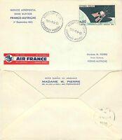 890 - Francia - Busta Air France da Aeroporto di Parigi Orly a Vienna, 1966