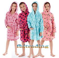 kids girls dressing gown robe hooded & SHAWL polar fleece gowns pug owl