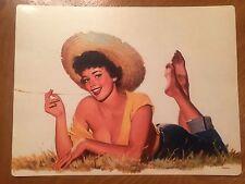Tin Sign Vintage Pinup Girl Straw Hat