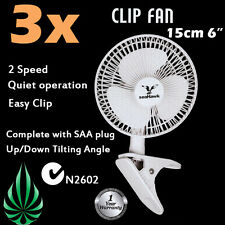 [3x] Seahawk Brand 2 Speed 150mm Quiet Clip Fan Desk Clamp AU Plug Metal Mesh
