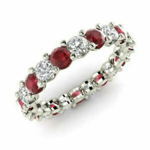 2.03 Ct Real Diamond Ruby Wedding Bands 14K Solid White Gold Ring Size M N O P Q