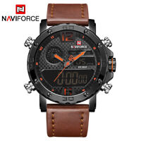 Naviforce 9134 Men Military Leather Sports Dual Time Quartz Digital Wrist Watch